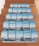 Non-Slip Carpets Stair Treads,Modern Decor,Office with Big Wide Windows City Building Skyscrapers View Art Photo,Sky Blue and Grey,(Set of 5) 8.6''x27.5''