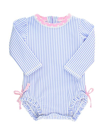 RuffleButts Baby/Toddler Girls Long Sleeve One Piece Swimsuit - Blue Seersucker with UPF 50+ Sun Protection - 6-12m