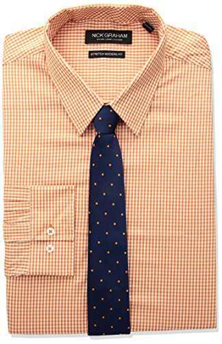Nick Graham Men's Modern Fitted Mini Gingham Stretch Shirt with Solid tie, Orange, M-L 34/35 - Mini Point Collar Dress Shirt