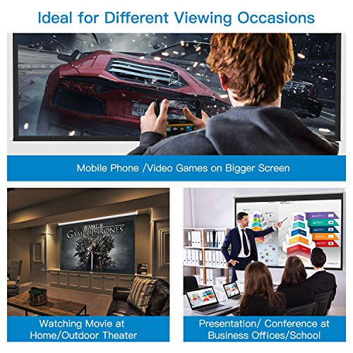 PERLESMITH Manual Pull Down Projector Screen 100 inch 16:9 HD Widescreen - Retractable Auto-Locking Portable Projection Screen for Indoor Outdoor Movie, Home Theater, Cinema, Gaming