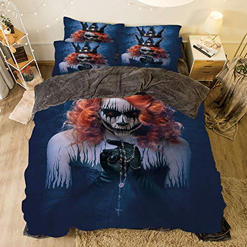 iPrint Flannel 4 Pieces on The Bed Duvet Cover Set for Bed Width 6.6ft Pattern by,Queen,Queen of Death Scary Body Art Halloween Evil Face Bizarre Make Up Zombie,Navy Blue Orange Black
