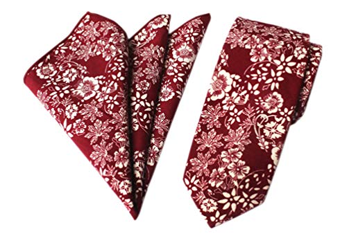 (Men's Red White Novelty Ties Cotton Flowers Printed Neckties Great for Weddings Gifts )