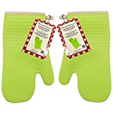 Marathon Housewares KW030018GR Silicone Oven Mitt with Quilted Lining in Green, Set of 2