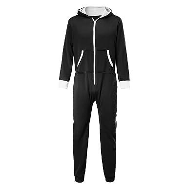 daff88848085 H.eternal Mens Onesie All in One Piece Pyjamas Jump Sleep Suit PJs Nightwear  Hooded Footed Romper Blouse (XXL