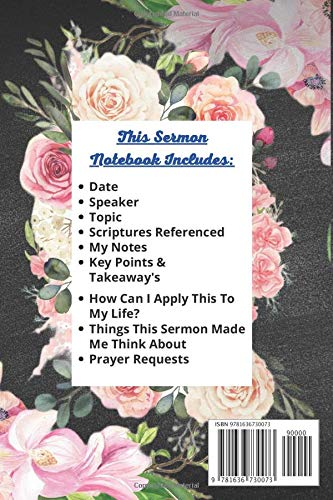 Image result for My Sermon Notebook: Beautifully Illustrated Sermon Notes Journal With 52 Weeks Of Prompted Sermon Notes Pages (2 Pages For Each Week)