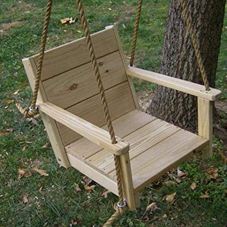 Amazon Com Wood Tree Swing Wooden Hanging Chair Swing Hang Outdoors In A Tree On A Porch Or Patio Garden Indoors In A Basement Or Children S Playroom Includes