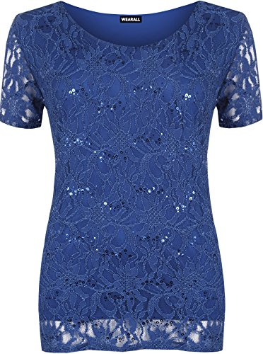 [WearAll Women's Plus Size Lace Sequin Lined Ladies Party Crochet Top - Royal Blue - US 20-22 (UK] (Plus Size Evening Wear)