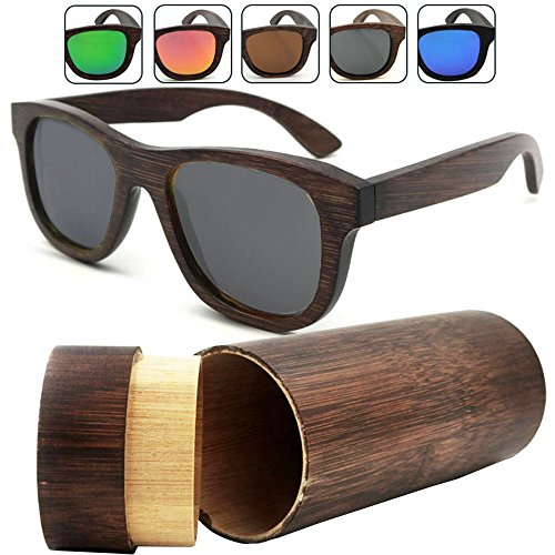 iSunHot 1-Pack Black Lens Bamboo Wood sunglasses with Polarized UV Protection Lens in Vintage Wayfarer Style - Authentic Natural Frame for Men / Women Handmade Eyeglasses at the - Ray Effect Bans Wood