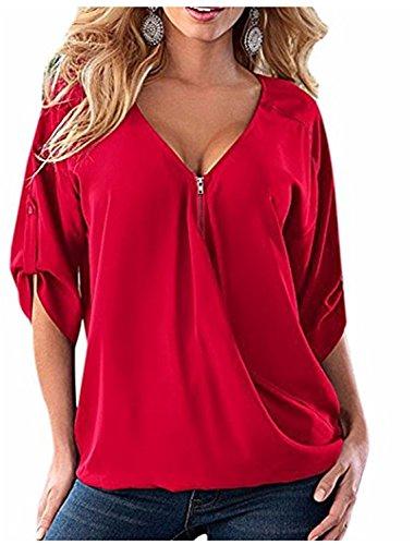 YOGLY Camiseta de Mujer con Cuello en V Ocasional Blusa Camisa de Gasa Talla Grande Rojo