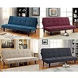 1PerfectChoice Denny Sofa Bed Futon Tufted Seating Adjustable Sleeper Plush Linen-like Fabric Color Dark Teal