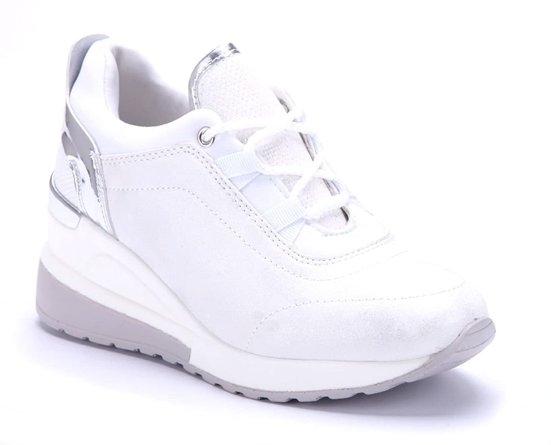 Schuhtempel24 Damen Schuhe Low Sneaker Keilabsatz Glitzer 7 cm Weiß