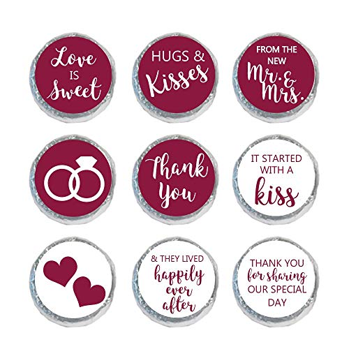 Mini Candy Stickers Wedding Favors Set of 324 (Burgundy)