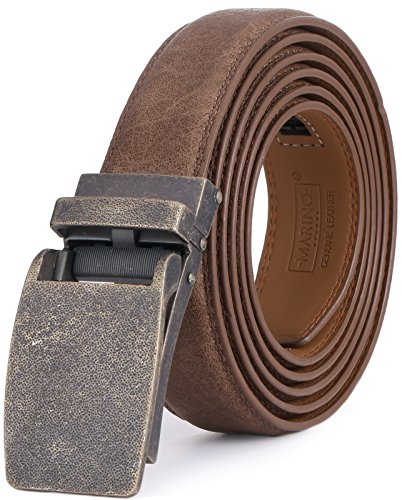 Marino Avenue Men's Genuine Leather Ratchet Dress Belt with Linxx Buckle, Enclosed in an Elegant Gift Box - Walnut - Style 167 - Adjustable from 28