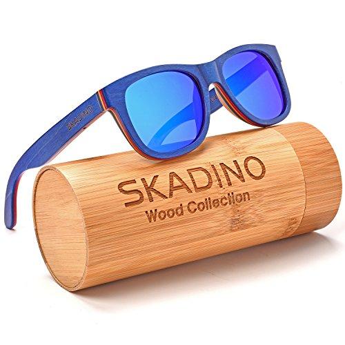 SKADINO JUSTIN Wood Sunglasses with Polarized lenses-Handmade Floating Wood Shades for Men&Women-Zebra Wood