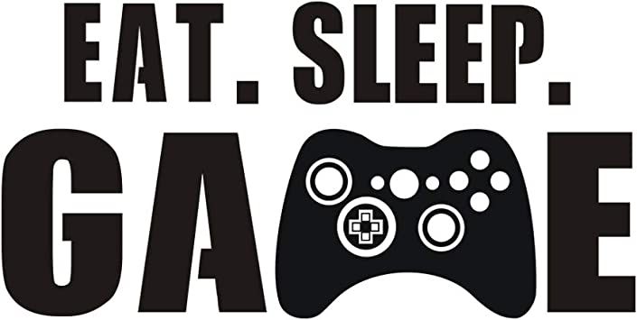 Vinyl Decoration for Boys Bedroom Gamer Wall Decal Playroom or Game Room EAT SLEEP GAME Controller Sticker