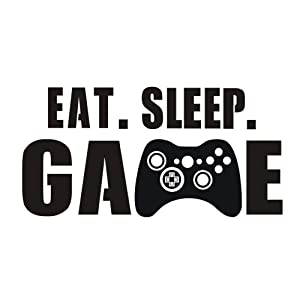 Eat Sleep Game Wall Decal, Video Gamer Boy Wall Sticker, Vinyl Game Décor Wall Stickers Art Design Stickers Wall for Home Playroom Bedroom Game Boys Room (Black, 27.5''L x 14''H)