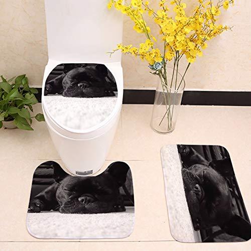 Bathroom Accessories Sets - 3pcs Bath Mats Cute Dog Animal Anti Slip Mat Set Fleece Floor Rugs Cushion Toilet Seat Cover - Bathroom White Modern Brown Steel Light Kids Paris Curtain Shower Yell ()