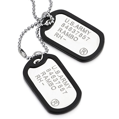 COOLSTEELANDBEYOND Two-Pieces Military Army Dog Tag with Black Silicone Mens Pendant Necklace, 28 inches Ball Chain