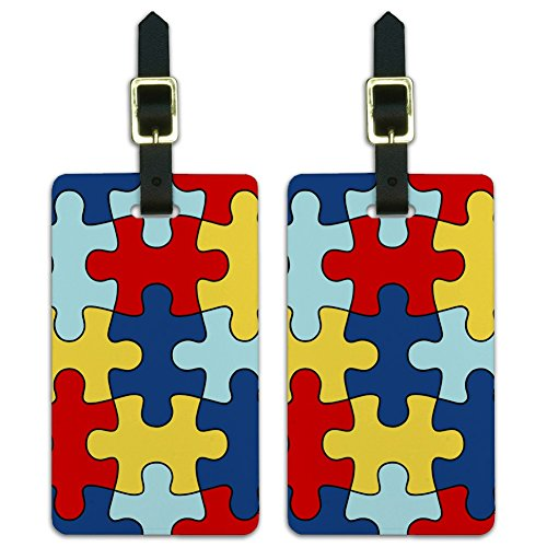Autism Awareness Diversity Puzzle Pieces Luggage ID Tags Cards Set of 2 -