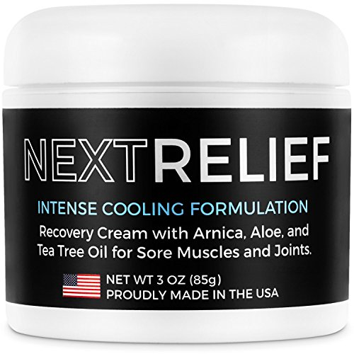NextRelief Cooling Pain Relief Cream - [3 oz] USA Made with Arnica, Aloe, Tea Tree Oil, More - Feels Great on Muscles and Joints - Use for Soreness, Aches, Inflammation, Arthritis, Sciatica, More