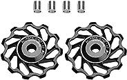 Bike Derailleur Pulley, 2Pcs 11T/13T Bike Guide Roller Ceramic Bearing Rear Pulley Jockey Wheel with Hole Adap