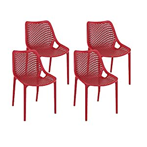 Resol Grid - Set de 4 sillas, plástico, 60 x 50 x 82 cm, color rojo