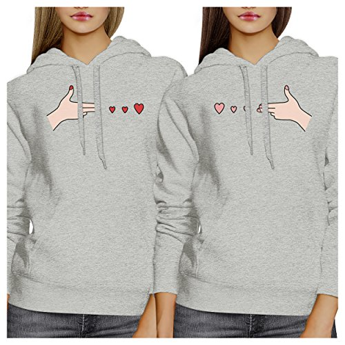 365 Printing Gun Hands with Hearts Gray BFF Hoodies Fleece Matching Gift Set