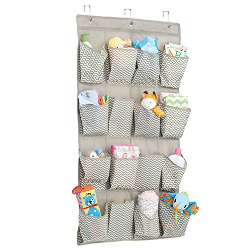 mDesign Soft Fabric Over the Door Hanging Chevron Storage Organizer with 16 Deep Pockets for Child/Baby Room, Nursery, Playroom – Metal Hooks Included - Zig Zag Geometric Pattern in Taupe/Natural