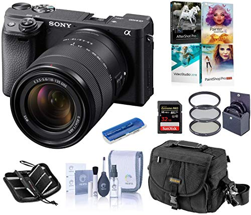 Sony Alpha a6400 Mirrorless Digital Camera with 18-135mm f/3.5-5.6 OSS Lens, Bundle with Camera Bag + Filter Kit + 32GB SD Card + SD Card Case + Corel PC Software Kit + Cleaning Kit + Card Reader