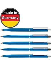 50 Stück Kugelschreiber blau allpremio® Qualität – Mine BLAU Strichstärke M – dokumentenecht nach ISO 12757-2 – Sparpack Druckkugelschreiber mit Metall Clip nachfüllbar