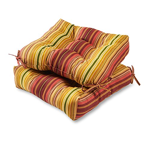 Greendale Home Fashions 20-inch Outdoor Chair Cushion (set of 2), Kinnabari Stripe -