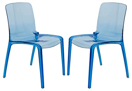 Amazon.com: Silla de comedor moderna en color azul ...