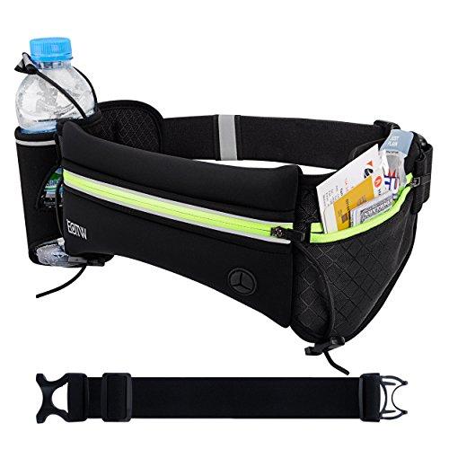 EOTW Hüfttaschen mit Flaschenhalter für iPhone, Samsung, HTC und andere Handys, Sport Gürteltasche mit Schlüsselfach ideal fürs Joggen, Trekking, Wandern, Langstrecken Läufe (Schwarz)