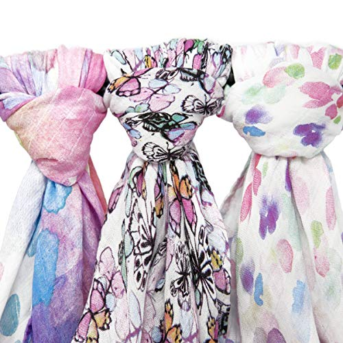 (Muslin Swaddle Blanket Set 'Flutter' Large 47x47 inch | Super Soft Bamboo Blankets | Flowers, Butterflies, and Florals | 3 Pack Baby Shower Gift Bundle of Swaddles for Girls | 10,000 Wash Warranty)