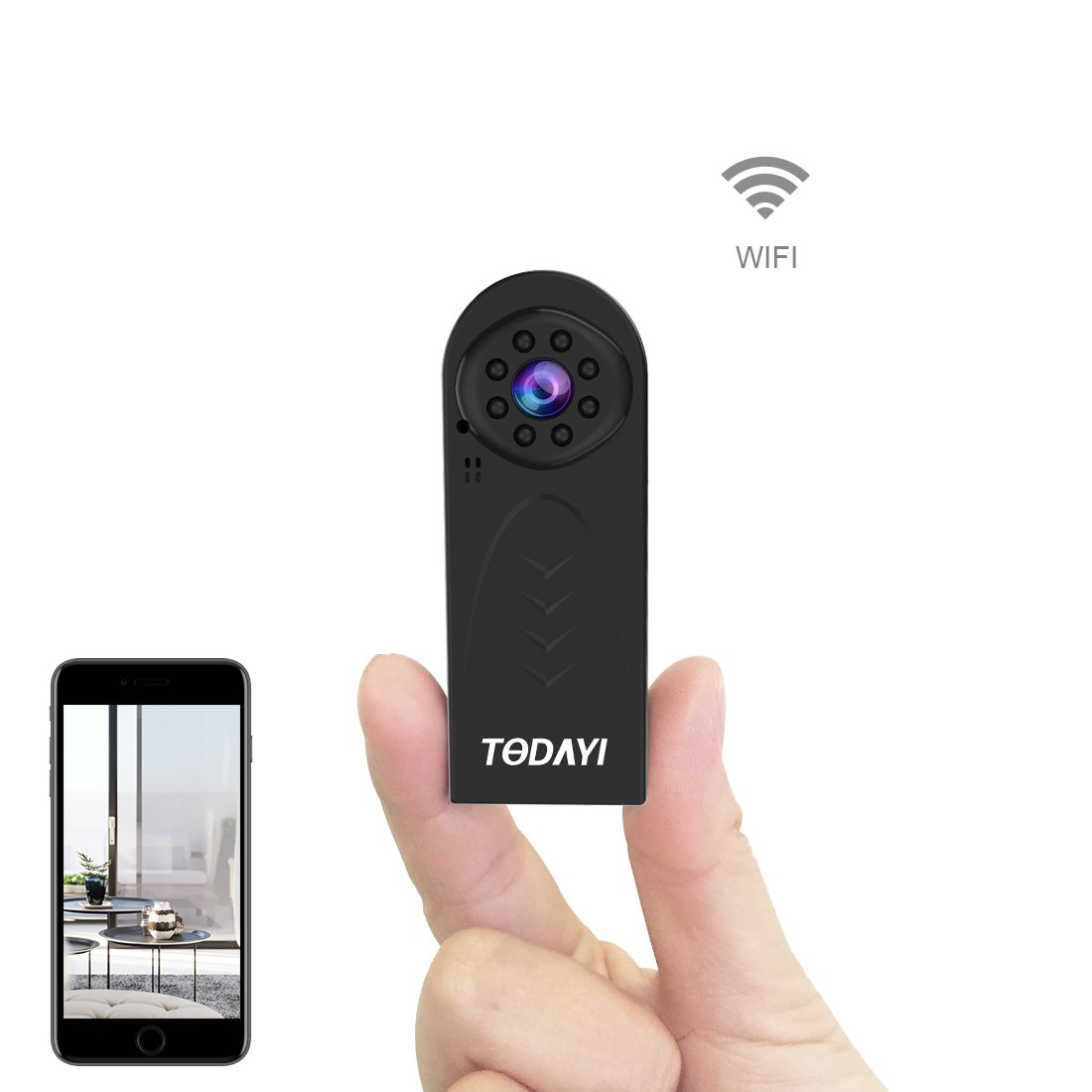 Spy camera, TODAYI Wireless Hidden Camera 1080P HD Mini Wifi Camera Spy Cam Small Wireless Security Nanny Cameras for iPhone/Android Phone/iPad/PC with Motion Detection Activated IR Night Vision