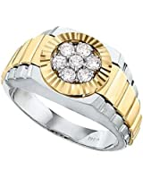 14k Two-tone Gold 1/2ct tw Cluster Ring.