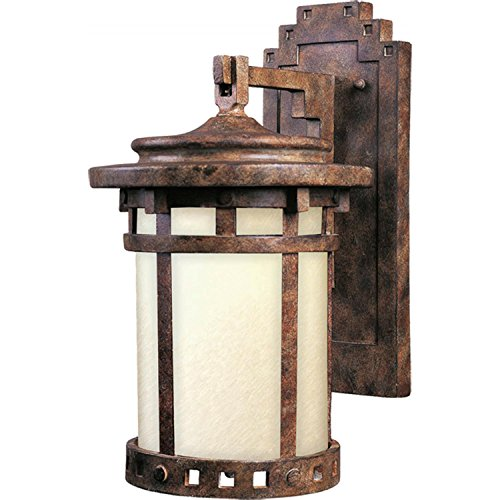 Maxim 55033MOSE Santa Barbara LED 1-Light Outdoor Wall Lantern, Sienna Finish, Mocha Glass, LED Bulb , 40W Max., Wet Safety Rating, Standard Dimmable, Glass Shade Material, 2016 Rated Lumens