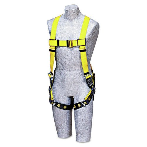 3M DBI-SALA Delta 1102000 Vest Style Harness, Back D-Ring, Tongue Buckle Leg Straps, Universal, Navy/Yellow from 3M Fall Protection Business