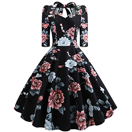 Aunimeifly Ladies' Vintage Floral Print Half Sleeve Bow Open Back High Waist Tutu Fluffy Prom Gown Dress Black -