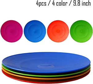 Greenandlife 4pcs/9.8inch Dishwasher & Microwave Safe PP Plates - Lightweight & Unbreakable,Non-toxin, BPA free and Healthy for Kids Children Toddler & Adult