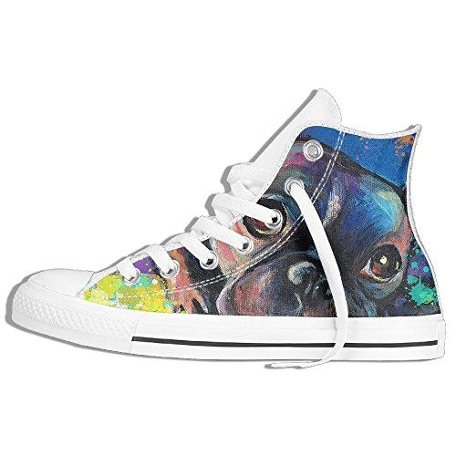 Classic High Top Sneakers Canvas Shoes Anti-Skid Colorful Dog Painting Casual Walking For Men Women White EhRO4mf0