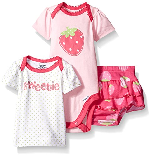 Gerber Baby Three-piece Bodysuit Lap-shoulder Shirt and Skort Set, Strawberry, 24 Months