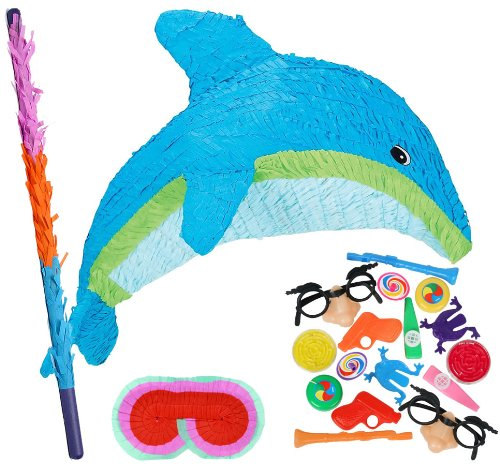Tropical Dolphin Pinata Party Pack Including Pinata, Filler Favors, Buster and Blindfold