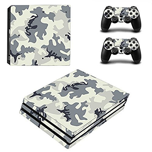 Chickwin PS4 Pro Vinyl Skin Full Body Cover Sticker Decal For Sony Playstation 4 Pro Console and 2 Dualshock Controller Skins (Grey-White Camo)