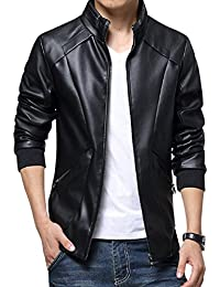 Men's Stand Up Collar Faux Leather Jacket Slim Fit