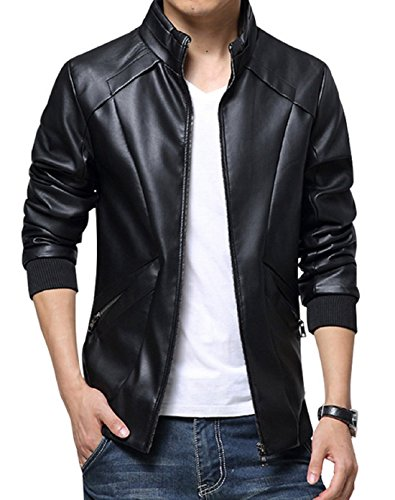 KIWEN Men's Stand Up Collar Faux Leather Jacket Slim Fit,Black,US XS/Tag size: M