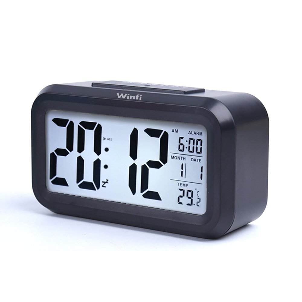 Alarm Clock, winfi Large LCD Display Digital Alarm Easy to Watch and Set,Low Light Sensor Technology Soft Night Light Repeating Snooze Temperature Display & Month Date,Battery Operation (a)