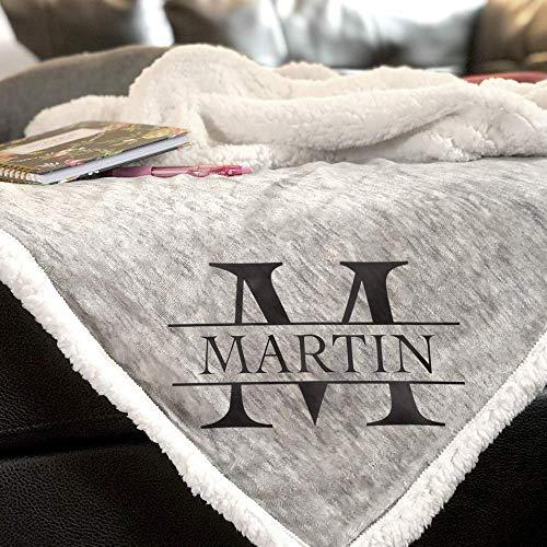 Personalized Blanket | Monogrammed Sherpa Throw Blanket – 50×60″
