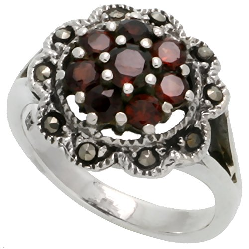 Sterling Silver Marcasite Flower Ring, w/ Brilliant Cut Natural Garnet, 3/4 inch (20 mm) wide, size - Garnet Ring Marcasite