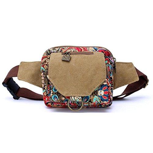 Chang Spent tendencias de la moda de las mujeres con una variedad de bolsa pequeña bolsa de deporte de la lona del bolso de la cintura bolsa de mensajero (color opcional) , blue red